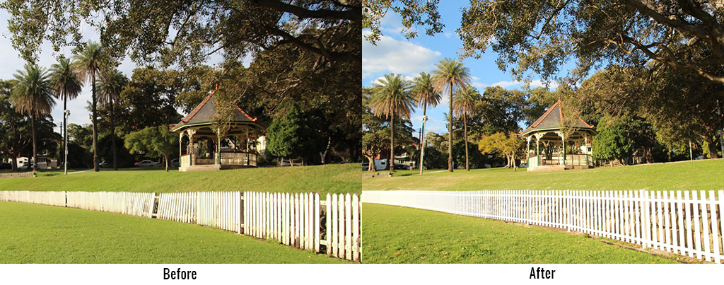 Cricket Picket Fence Before and After