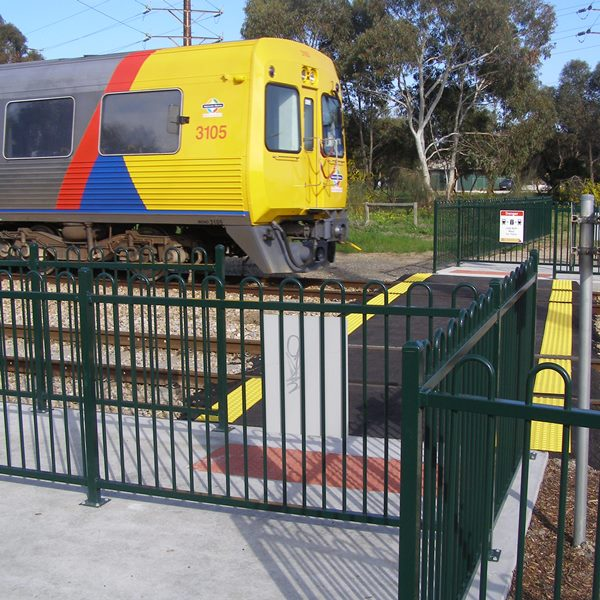 Fencing installed to create a pedestrian 'rail maze'. This encourages pedestrians to look both   aways for approaching trains as they attempt to cross the active rail tracks.