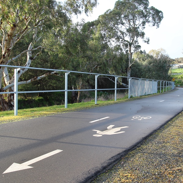 Partial barrier, with just a 'bump' rail and mid-rail, can be combined with Full Barrier depending   on the severity of the hazards adjacent to the path.
