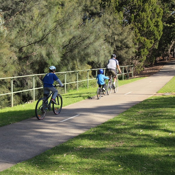 CycSafe® bikepath partial barrier fencing along a section of the Torrens River Linear Park, Adelaide.