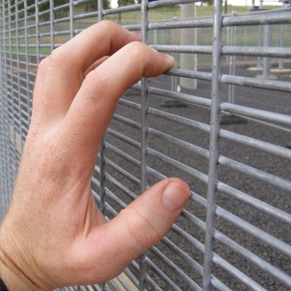 The welded mesh infill panel is generically called 358 mesh as the vertical wires are at 3 inch (75mm) centres, the horizontal wires at 0.5 inch (12.5mm) centres and the wire is 8 gauge (4mm dia).
