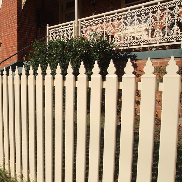 900mm high steel picket fencing with a 75x16mm tubular steel upright in a decorative picket top style and primrose colour finish.