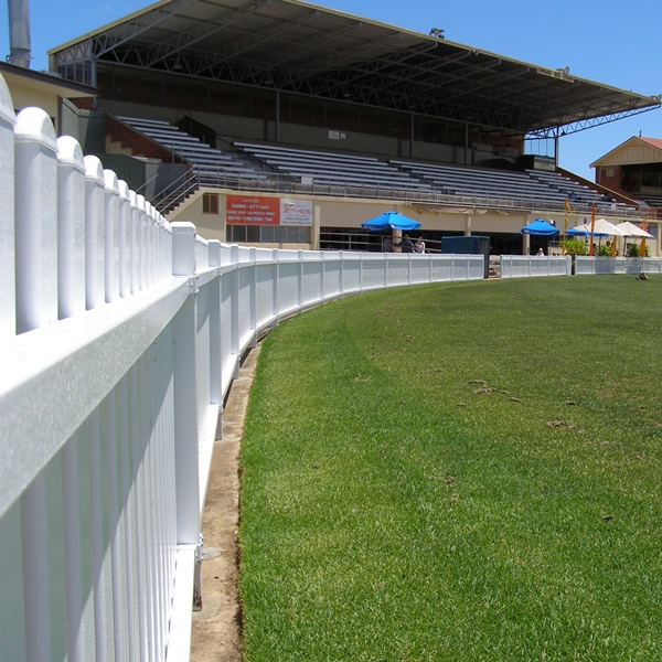 Headingly® steel picket fencing with a 75x16mm tubular steel upright with a 'moon' picket top at Glenelg Oval, Adelaide.