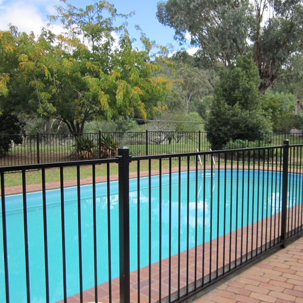 "One of our stock products: Pool'nPlay® 1200mm high black flat top pool fencing looks great, is one of our most popular styles and ready to take home ""off the shelf""."