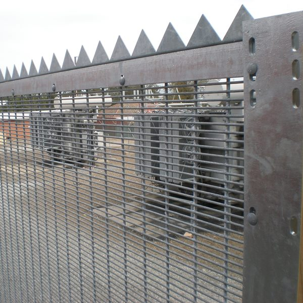 The fence assembly consists of a top and bottom 50x50x6mm rail supported between posts and   mesh secured with tamper resistant M8 bolts and security nuts.